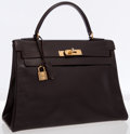 Luxury Accessories:Bags, Hermes 28cm Marron Fonce Calf Box Leather Retourne Kelly Bag withGold Hardware . ...