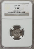 Bust Dimes: , 1835 10C VF35 NGC. NGC Census: (10/407). PCGS Population (47/500).Mintage: 1,410,000. Numismedia Wsl. Price for problem fr...