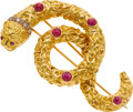 Estate Jewelry:Brooches - Pins, Lalaounis Ruby, Diamond, Gold Brooch. ...