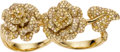 Estate Jewelry:Rings, Diamond, Gold Two-Finger Ring. ...