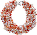 Estate Jewelry:Necklaces, Coral, Freshwater Cultured Pearl, White Gold Necklace, Mish NY. ...