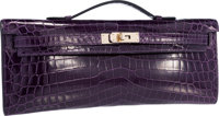 Hermes Shiny Amethyst Nilo Crocodile Kelly Cut Clutch Bag with Permabrass Hardware Pristine Condition