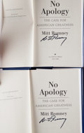 Miscellaneous Collectibles:General, Mitt Romney Signed Hardcover Books Lot of 2....