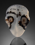 "Gems:Cabochons, VISIONS IN STONE: ""SKULL"" PICTORIAL MONTANA AGATE. Gravel Barsin the Yellowstone River, Montana. ..."