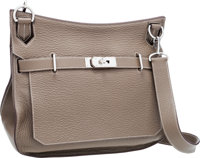 Hermes 34cm Etoupe Clemence Leather Jypsiere Bag with Palladium Hardware Very Good Condition 13.5