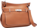 """Luxury Accessories:Bags, Hermes 34cm Gold Clemence Leather Jypsiere Bag with PalladiumHardware. Excellent Condition. 13.5"""" Width x 10"""" Height..."""
