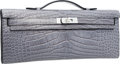 "Luxury Accessories:Bags, Hermes Matte Gris Paris Alligator Kelly Cut Clutch Bag with Palladium Hardware. Pristine Condition. 12"" Width x 5"" Hei..."