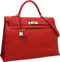 """Luxury Accessories:Bags, Hermes 35cm Vermillion Togo Leather Sellier Mou Kelly Bag with Palladium Hardware. Excellent Condition. 14"""" Width x 10..."""