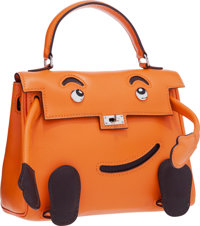 Hermes Limited Edition Orange H Gulliver Leather Quelle Idole Kelly Doll Bag Very Good to Excellent Condition</...