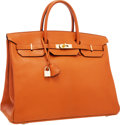 """Luxury Accessories:Bags, Hermes 40cm Potiron Chevre Leather Birkin Bag with Gold Hardware . Excellent Condition . 15.5"""" Width x 11"""" Height x 8""""..."""
