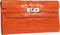 "Luxury Accessories:Bags, Hermes Shiny Orange H Alligator Kelly Long Wallet with PalladiumHardware. Excellent Condition. 8"" Width x 4.5""Height..."