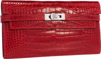 "Hermes Shiny Braise Alligator Kelly Long Wallet with Palladium Hardware Pristine Condition 8"" Wid"