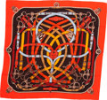 "Luxury Accessories:Accessories, Hermes 140cm Red ""Cavalcadour,"" by Henri d'Origny Cashmere & Silk Scarf. Pristine Condition. 56"" Width x 56"" Length..."