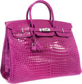 "Luxury Accessories:Bags, Hermes 40cm Shiny Rose Scheherazade Porosus Crocodile Birkin Bagwith Palladium Hardware. Pristine Condition. 14"" ..."