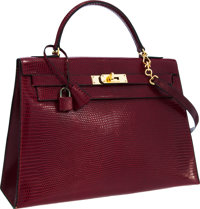 Hermes 32cm Rouge H Lizard Sellier Kelly Bag with Gold Hardware Very Good to Excellent Condition