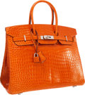 "Luxury Accessories:Bags, Hermes 35cm Shiny Orange H Porosus Crocodile Birkin Bag withPalladium Hardware. Excellent Condition. 14"" Width x 10""..."