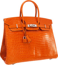 Hermes 35cm Shiny Orange H Porosus Crocodile Birkin Bag with Palladium Hardware Excellent Condition