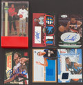 Basketball Collectibles:Others, Basketball Legends Signed And Jersey Swatch Cards Lot Of 6....