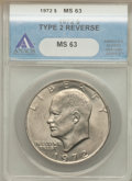 Eisenhower Dollars: , 1972 $1 Type Two MS63 ANACS. PCGS Population (580/558). Numismedia Wsl. Price for problem free NGC/PCGS...