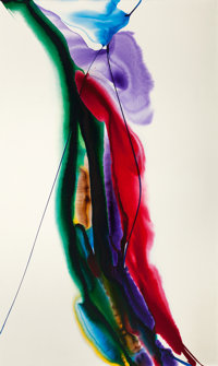 PAUL JENKINS (American, 1923-2012) Phenomena Mace Carrier, 1969 Acrylic on canvas 64 x 38 inches