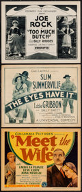 "Movie Posters:Comedy, Meet the Wife & Others Lot (Columbia, 1931). Title Lobby Cards (3) (11"" X 14""). Comedy.. ... (Total: 3 Items)"