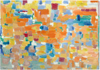 DEVRIM NÉJAD (Turkish, 1923-1995) Abstract Composition, 1963 Oil on board 27-3/4 x 39-1/2 inches