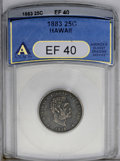 Coins of Hawaii: , 1883 25C Hawaii Quarter XF40 ANACS. NGC Census: (3/524). PCGSPopulation (17/1001). Mintage: 500,000. (#10987)...