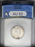 Coins of Hawaii: , 1883 25C Hawaii Quarter AU53 ANACS. NGC Census: (7/500). PCGSPopulation (14/942). Mintage: 500,000. (#10987)...