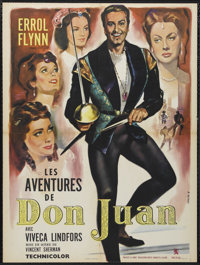 """The Adventures of Don Juan (Warner Brothers, 1948). French Petite (23.5"""" X 31.5""""). Action. Directed by Vincent..."""