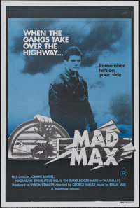 "Mad Max (Roadshow Film Distributors, 1979). Australian One Sheet (27"" X 40""). Action. Directed by George Mille..."