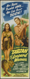 "Movie Posters:Action, Tarzan and the Leopard Woman (RKO, 1946). Insert (14"" X 36"").Adventure. Directed by Kurt Neumann. Starring Johnny Weissmull..."