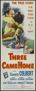 "Movie Posters:War, Three Came Home (20th Century Fox, 1949). Insert (14"" X 36""). WarDrama. Directed by Jean Negulesco. Starring Claudette Colb..."