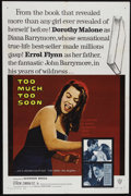 "Movie Posters:Drama, Too Much, Too Soon (Warner Brothers, 1958). One Sheet (27"" X 41"").Biographical Drama. Directed by Art Napoleon. Starring Do..."