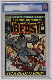 "Amazing Adventures #11 (Marvel, 1972) CGC VF/NM 9.0 White pages. First appearance of the ""furry"" Beast. First..."