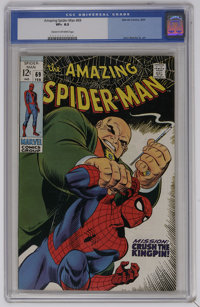 The Amazing Spider-Man #69 (Marvel, 1969) CGC VF+ 8.5 Cream to off-white pages. Kingpin cover and story. Art by John Rom...