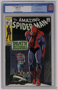 The Amazing Spider-Man #75 (Marvel, 1969) CGC FN/VF 7.0 Off-white pages. Spider-Man versus Silvermane, who appears to di...