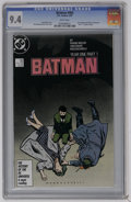 "Modern Age (1980-Present):Superhero, Batman #404 (DC, 1987) CGC NM 9.4 White pages. First appearance of the modern Catwoman. ""Year One"" storyline begins. David M..."