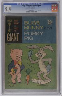 Bugs Bunny and Porky Pig #1 File Copy (Gold Key, 1965) CGC NM 9.4 Off-white to white pages. Paper cover. Overstreet 2006...