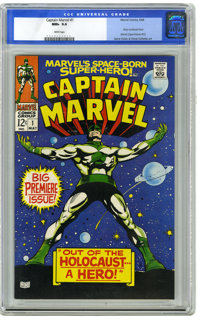 Captain Marvel #1 (Marvel, 1968) CGC NM+ 9.6 White pages. Gene Colan cover and art. Overstreet 2006 NM- 9.2 value = $180...