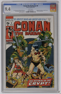 """Conan the Barbarian #8 (Marvel, 1971) CGC NM 9.4 White pages. Adapted from a Robert E. Howard synopsis entitled """"Th..."""