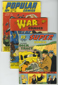 Golden Age (1938-1955):Miscellaneous, Dell Golden Age Group (Dell, 1941). Included here are Super Comics #43 (VG), War Comics #4 (GD; minor bug chew); P... (Total: 4 Comic Books)