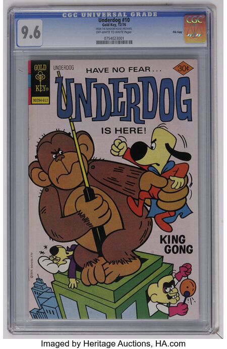 Underdog #10 File Copy (Gold Key, 1976) CGC NM+ 9.6 Off-white to white pages. Highest CGC grade for this issue. Overstreet 2...