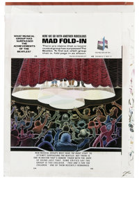 """Al Jaffee - Mad #299 Fold-In Back Cover Original Art (EC, 1990). Al Jaffee's fold-in asks """"What Musical Group Has S..."""