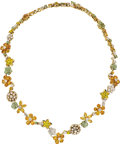 Estate Jewelry:Necklaces, Van Cleef & Arpels Diamond, Sapphire, Gold Necklace. ...