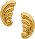 Estate Jewelry:Earrings, Lalaounis Gold Earrings. ...