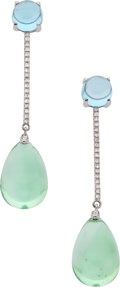 Estate Jewelry:Earrings, Goshwara Prasiolite, Topaz, Diamond, White Gold Earrings. ...