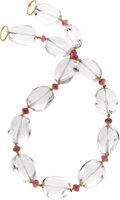 Estate Jewelry:Necklaces, Goshwara Rock Crystal Quartz, Rubellite, Gold Necklace. ...