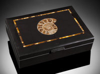 FOSSIL AMMONITE & TIGER'S EYE BOX Handcrafted in Italy Fossil source: Madagascar, Stone source: