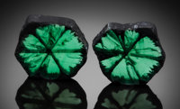 RARE GEMSTONE: TRAPICHE EMERALD (MATCHED PAIR) - 14.33 TCW. Muzo, Colombia