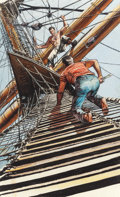 Mainstream Illustration, HARRY SCHAARE (American, 1922-2008). Two Years Before the Mast,paperback cover, 1958. Watercolor and gouache on board. ...(Total: 2 Items)